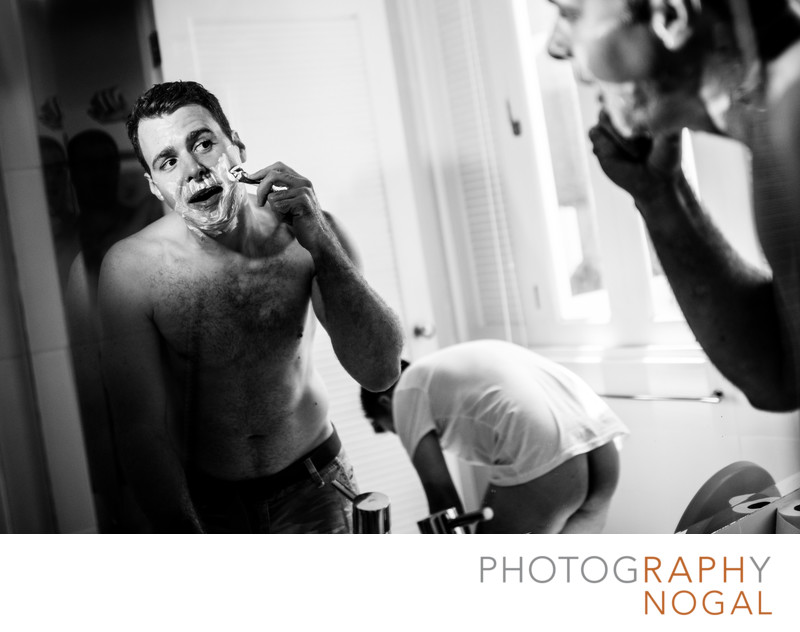 Groom Shaving and a Bare Assed Groomsman