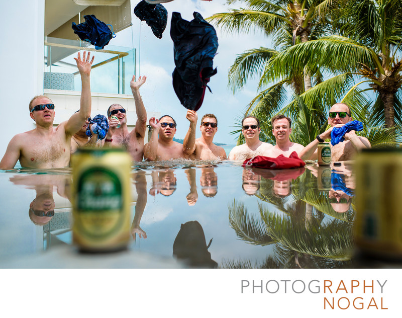 Groomsmen With Their Pants Off In Hot Tub