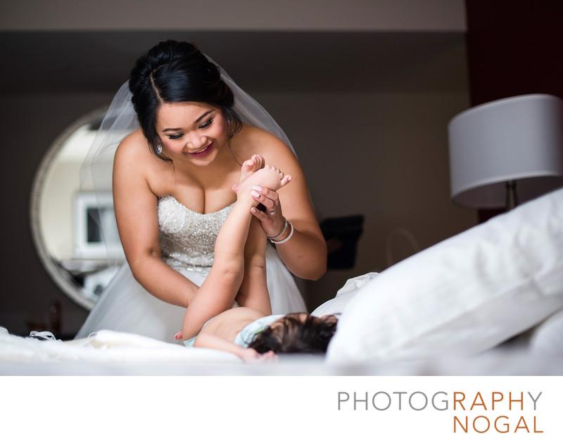 Diaper Change with Wedding Dress