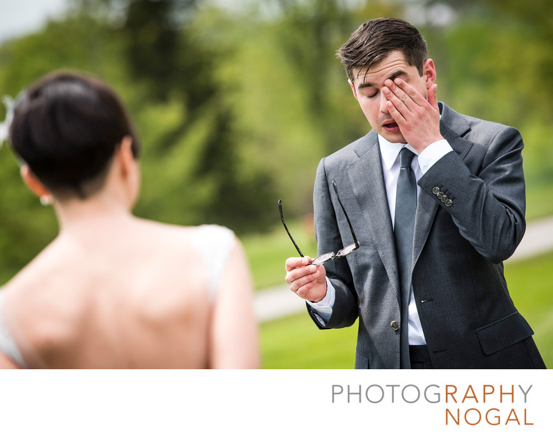 Groom Wiping Tears At The First Look