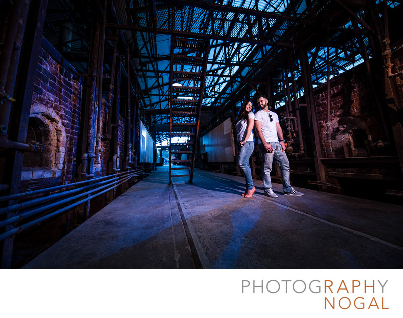 Cool Couple Engagement Photo at Evergreen Brickworks