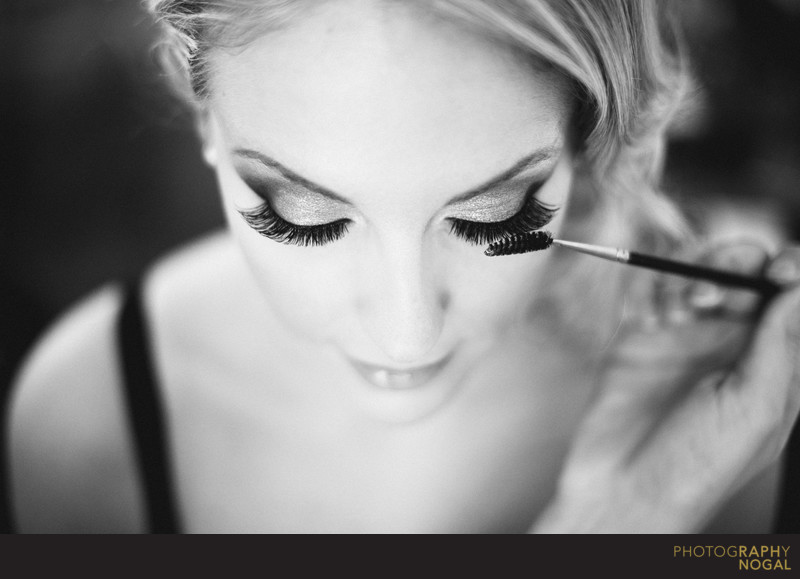 Bride's Lashes Touch Up During Getting Ready