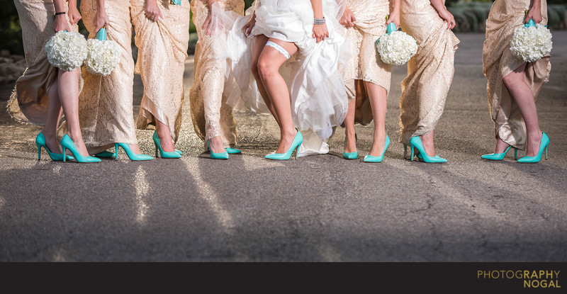 Girls Showing Off Their Wedding Shoes