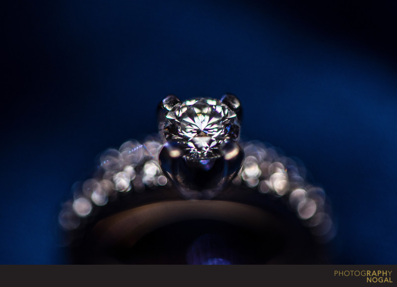 Diamond Ring Detail on Blue Background