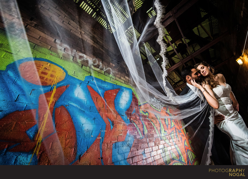 Bride with Long Veil at Brickworks in Toronto