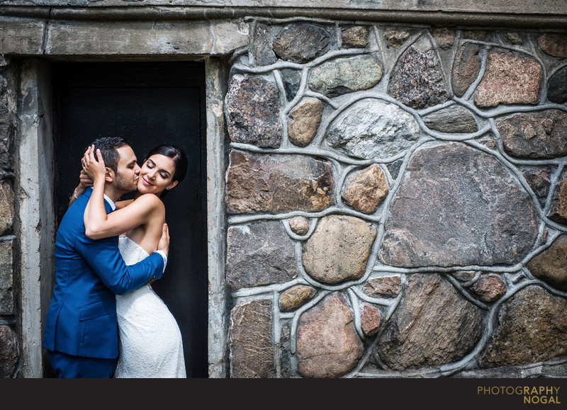 Couple Kissing at Woodbridge War Memorial Tower
