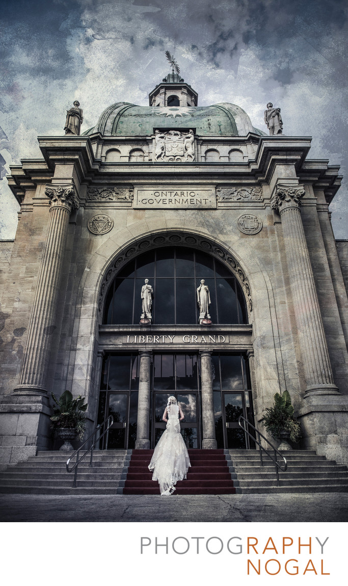 Bride Walking on Stairs at Liberty Grand
