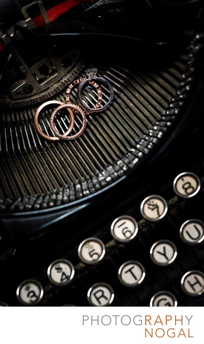 Wedding Bands on Vintage Typewriter