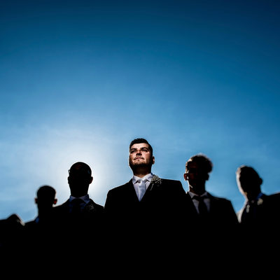 Groom and His Groomsmen Dramatic Portrait