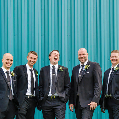 Groom and Groomsmen Laughing at My Jokes