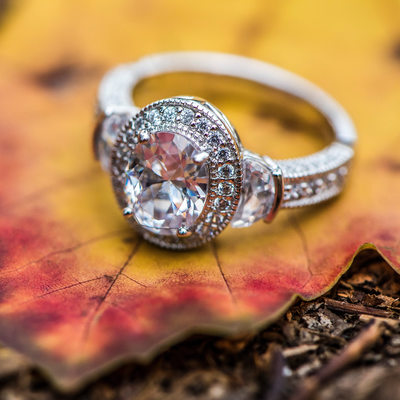 Engagement Ring on Maple Leaf in the Fall