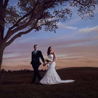 Bride and Groom Walking at the Copper Creek Golf Club