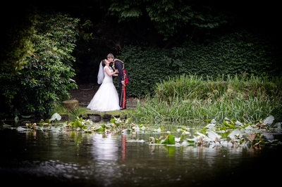 Sheffield Wedding photography Kenwood Hall lake kiss