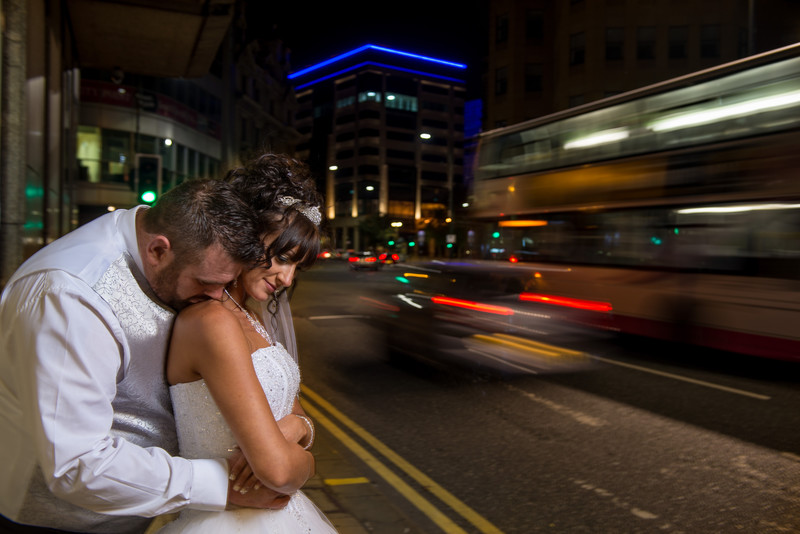 Night Time wedding portraits in derby