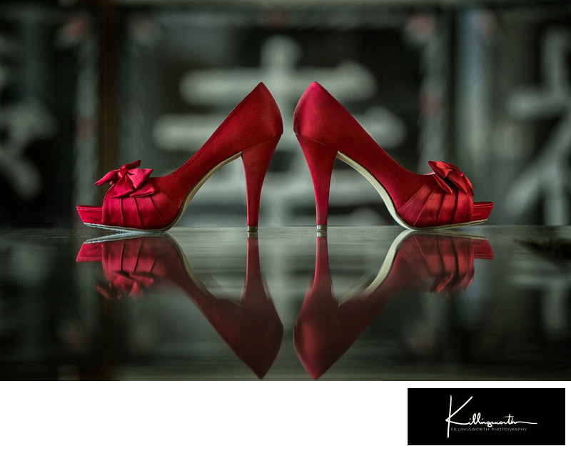 red wedding shoes with bows
