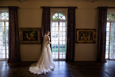 bridal portrait in 1880 union hotel ballroom