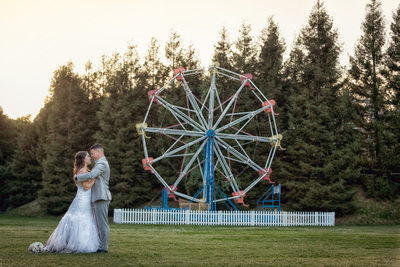 bride and groom Calamigos ranch ferris wheel
