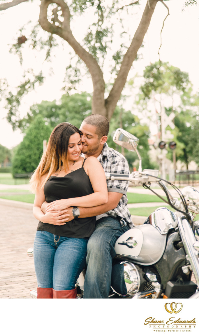 motorcycle engagement photo