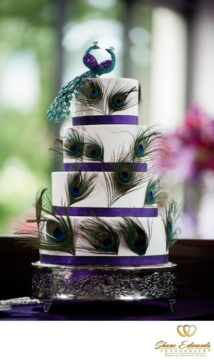 Green and Purple Wedding Cake