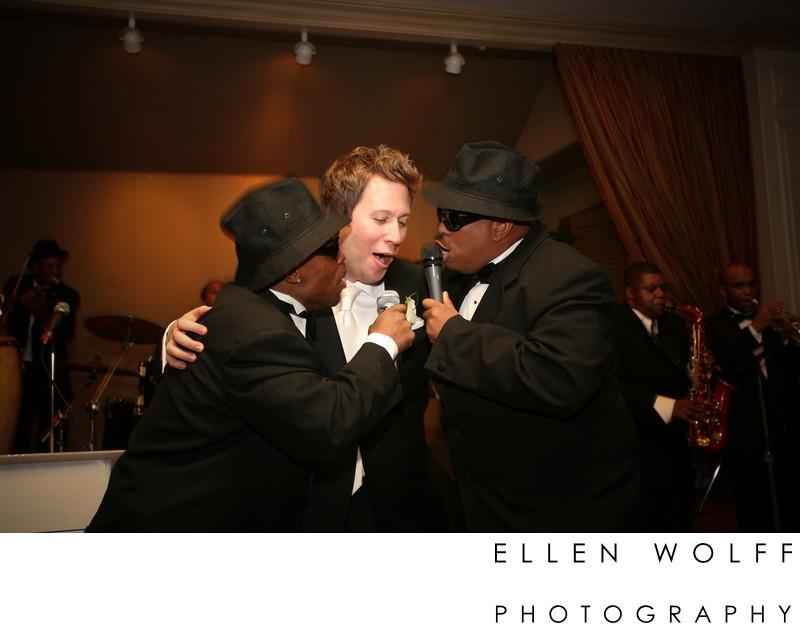 Fun wedding photo with the groom