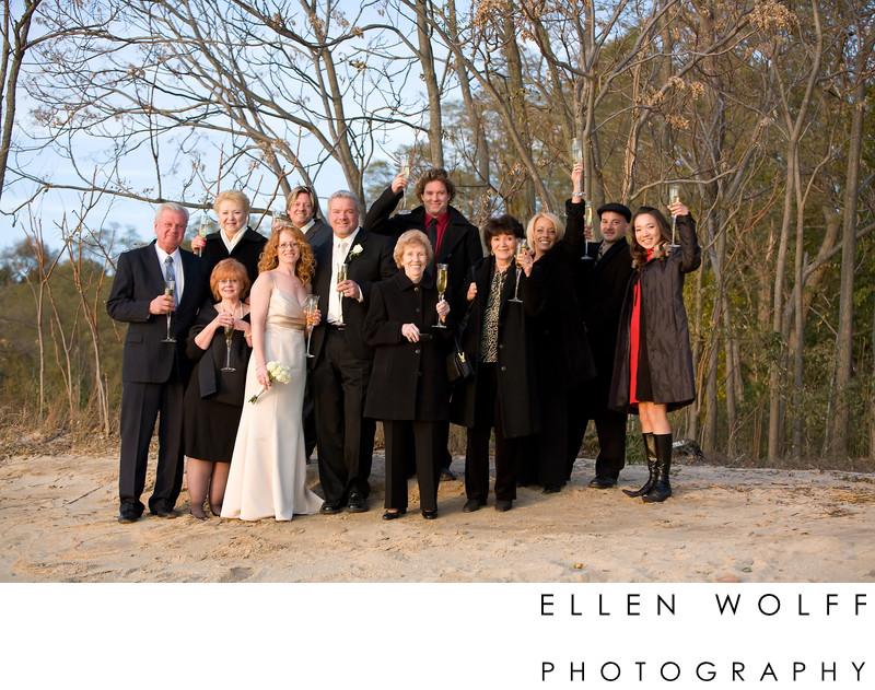 wedding party on Lloyd Neck Beach