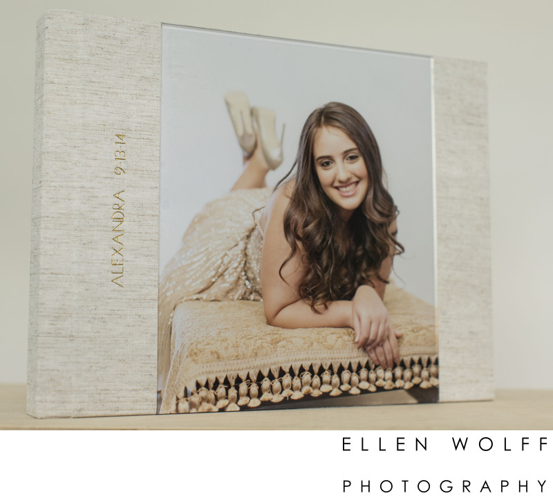 lucite bat mitzvah album with gold imprinting