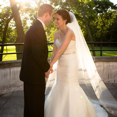 bride and groom at Muttontown Country Club