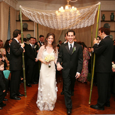 bride and groom leaving the chuppah at Pratt House