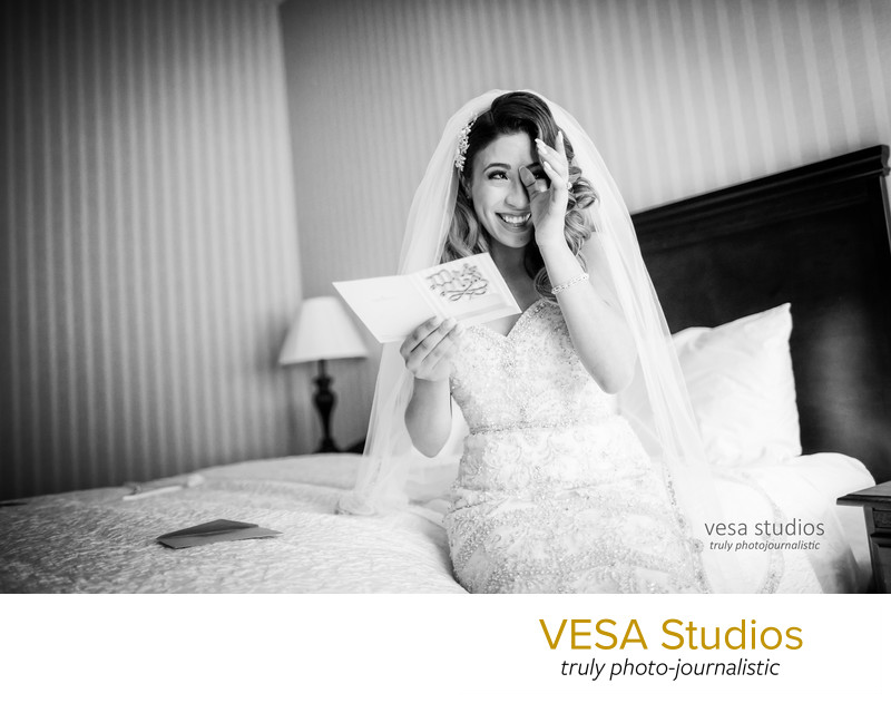 Emotional Bride after reading a note from the Groom