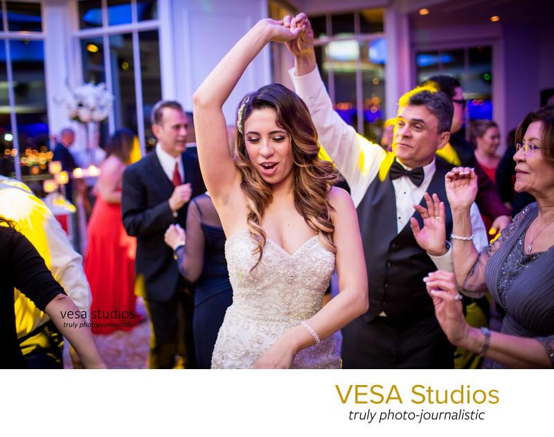 Bride enjoying wedding reception