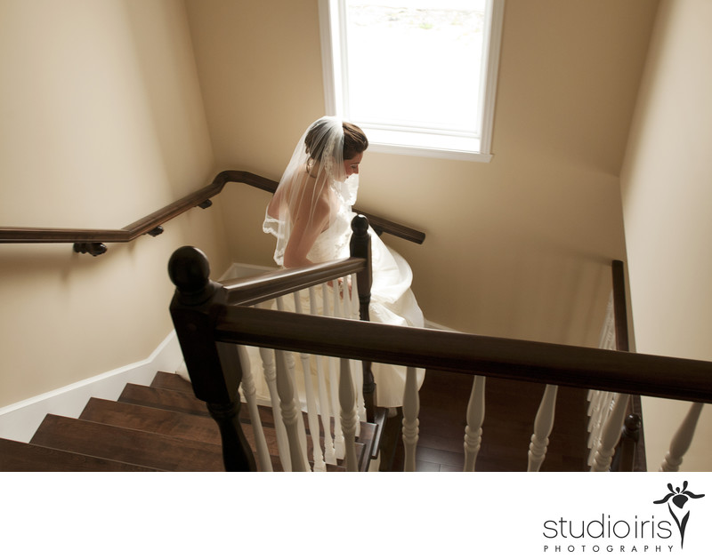 Montreal Wedding Photography Bride Running Down Stairs