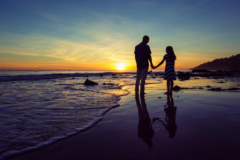 Adam and Faith Watching the Sunset on a Malibu Beach