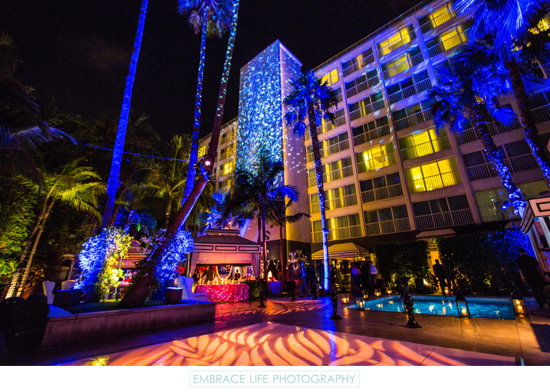 Lighted Purple Palm Trees and Colorful Patio