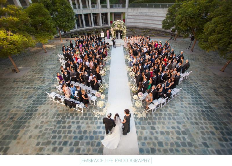 Skirball Center Wedding Ceremony in the Taper Courtyard