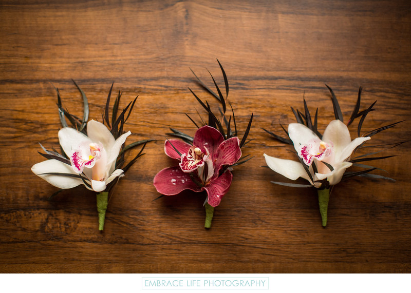 Unique Orchid Boutonniere at Calamigos Ranch Wedding
