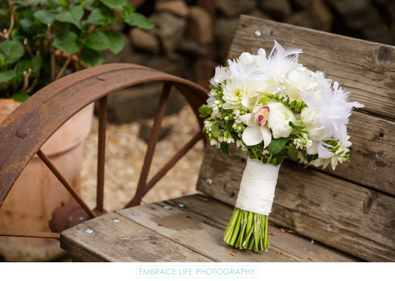 Calamigos Ranch Wedding - Bouquet with White Feathers