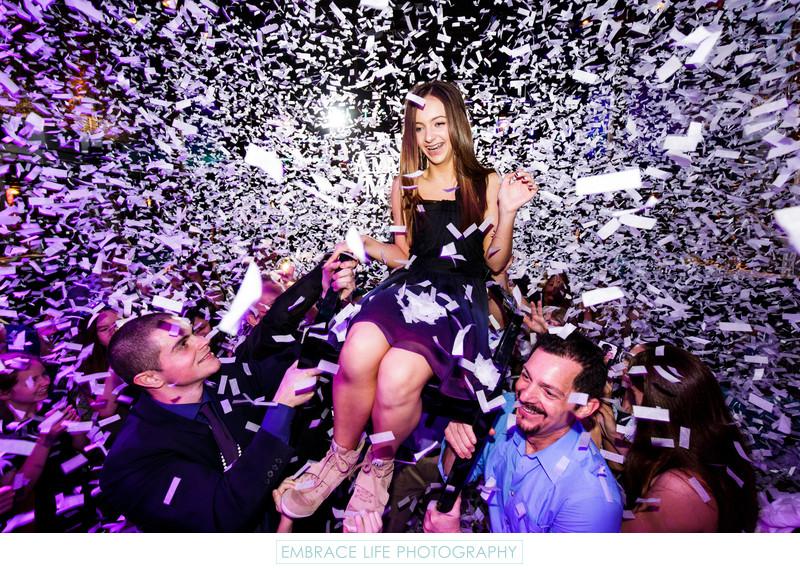 Confetti Cannons During Bat Mitzvah Horah Chair Dance
