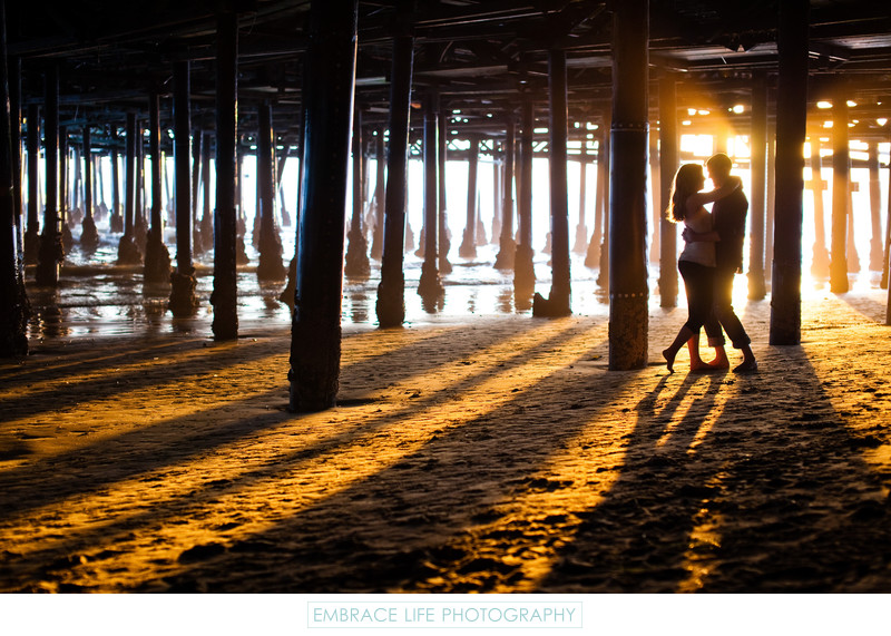 Sunset Engagement Portrait under the Santa Monica Pier