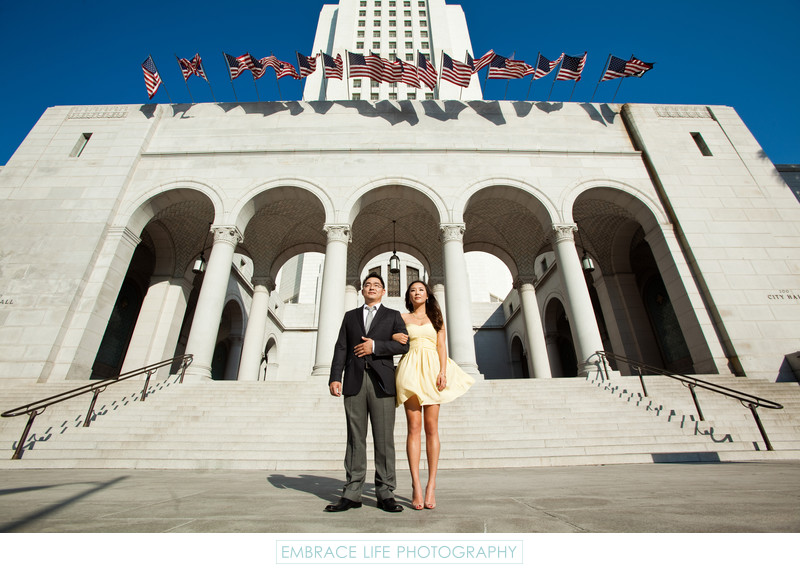 DTLA Engagement Session at Los Angeles City Hall