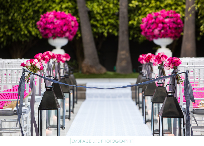 Lanterns Line Wedding Aisle