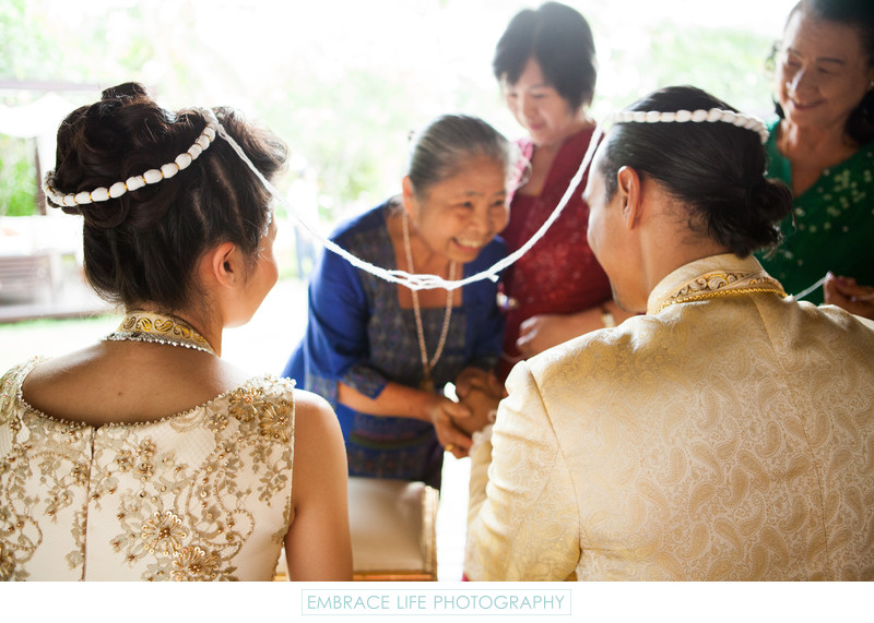 Thai Wedding Tradition Sai Sin Thread Tying Ceremony