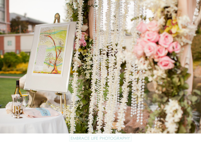 Ketubah on Easel Under Chuppah with Floral Wall