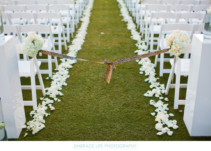 Wedding Ceremony Aisle with White Flowers