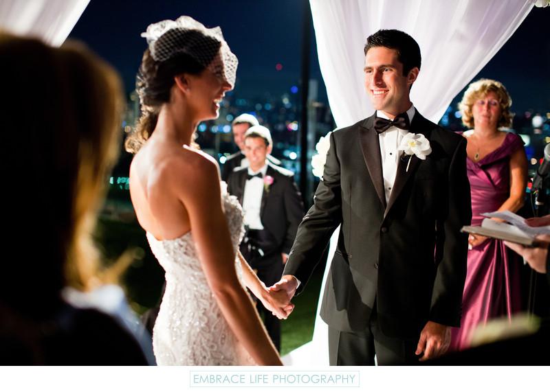Night Wedding Ceremony w/ City View and Birdcage Veil