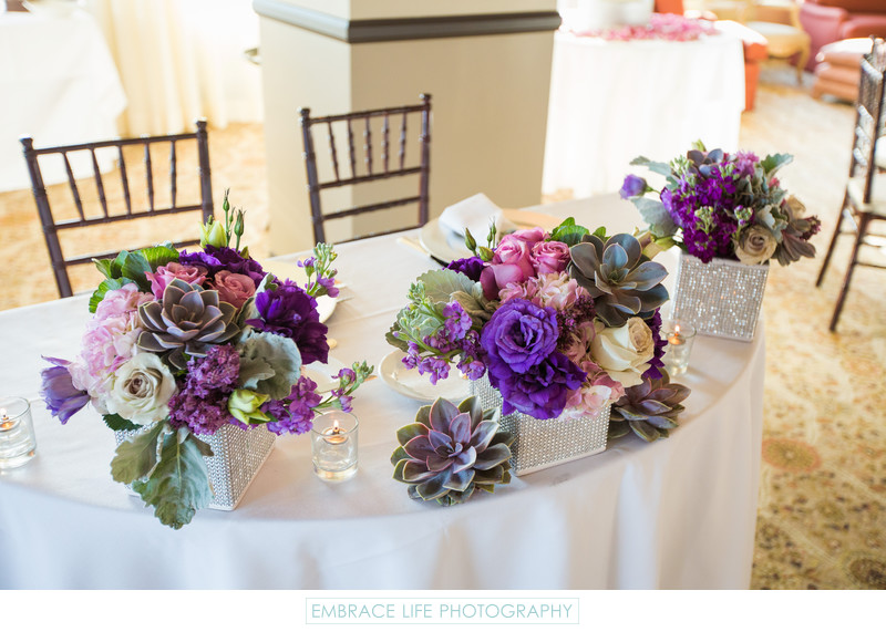 Sweetheart Table Decorated with Bohemian Bouquets