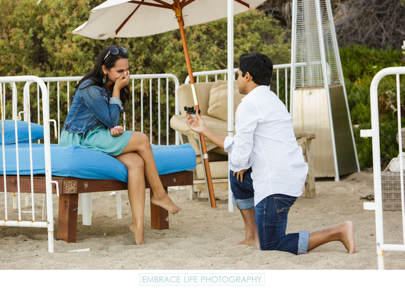 Surprise Proposal Reaction at Paradise Cove Beach