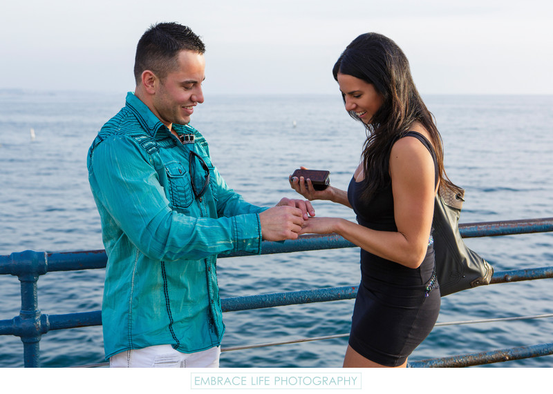 Surprise Proposal Photographed on the Santa Monica Pier