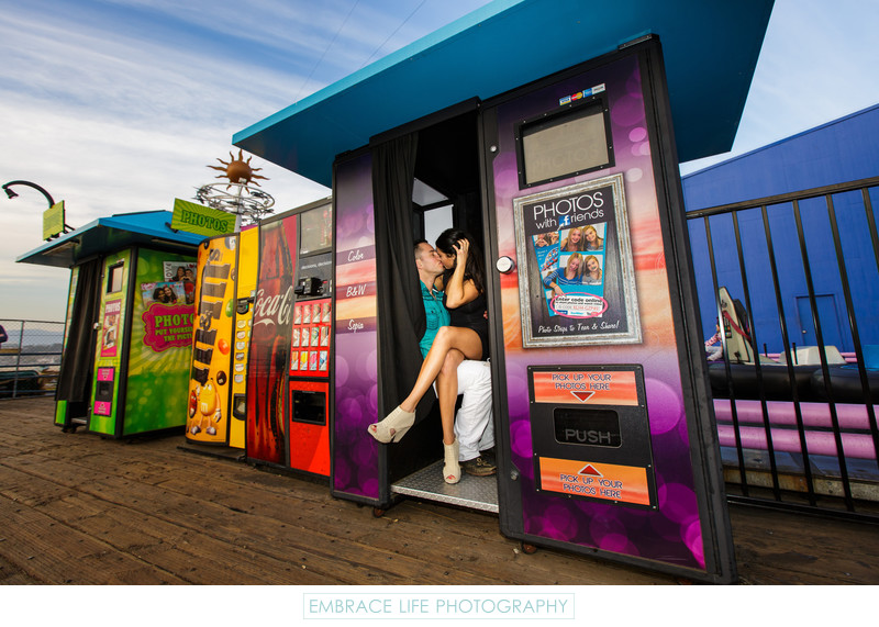 Colorful Santa Monica Proposal Photograph