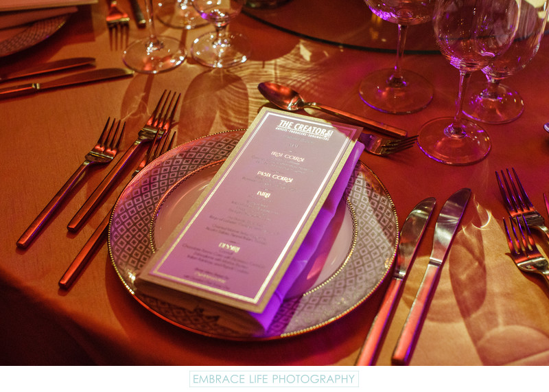 Gold Accented Menu, Plate, Flatware and Tablecloth