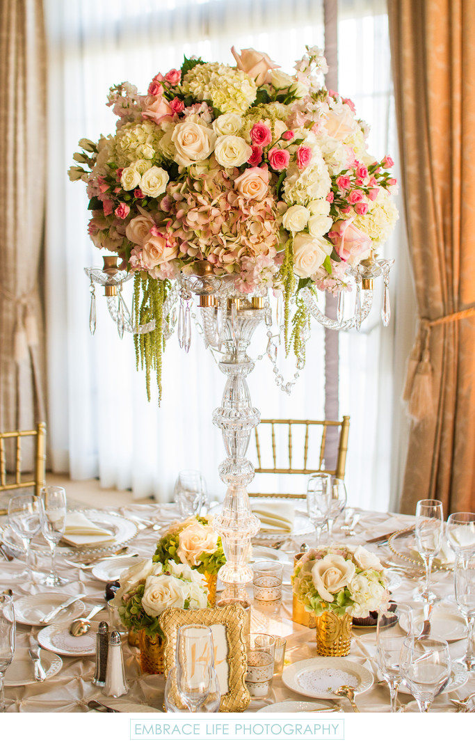 Tall Crystal Candelabra Floral Centerpiece